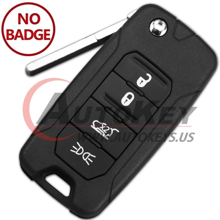(433Mhz) 2AD FTF I5A M433TX Flip Remote Key For Jeep Renegade