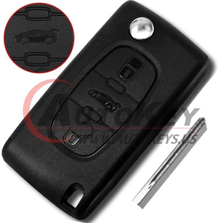 (433Mhz)WG Flip Remote Key For 2001 -2005  Peugeot 407/408